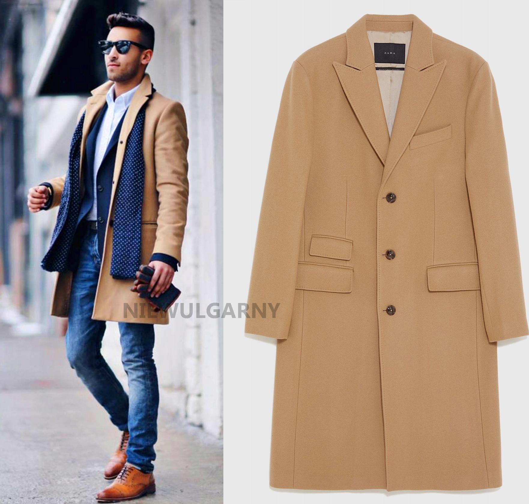 ZARA Nowy klasyczny elegancki beżowy płaszcz L