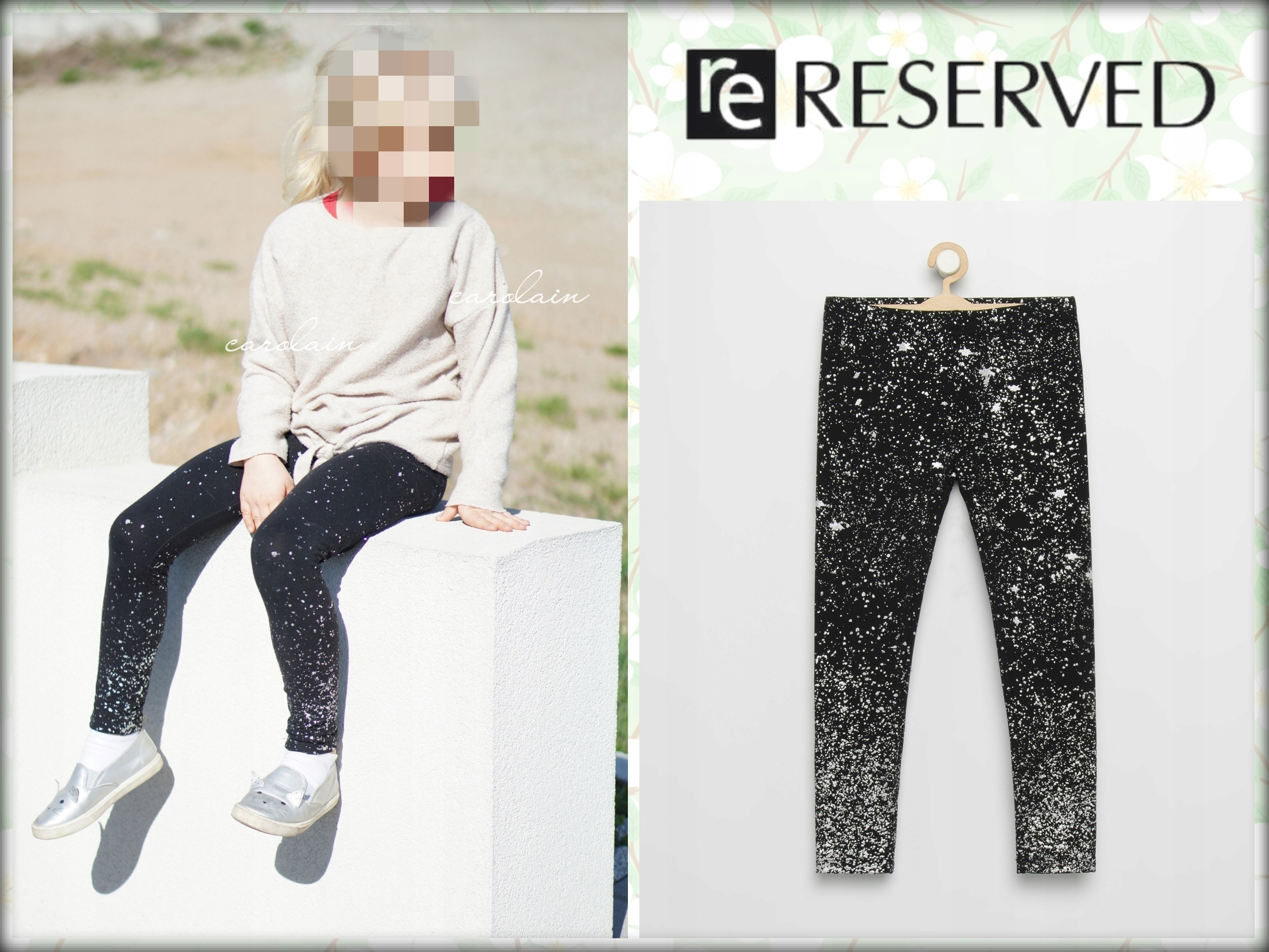 RESERVED legginsy czarno-białe 122