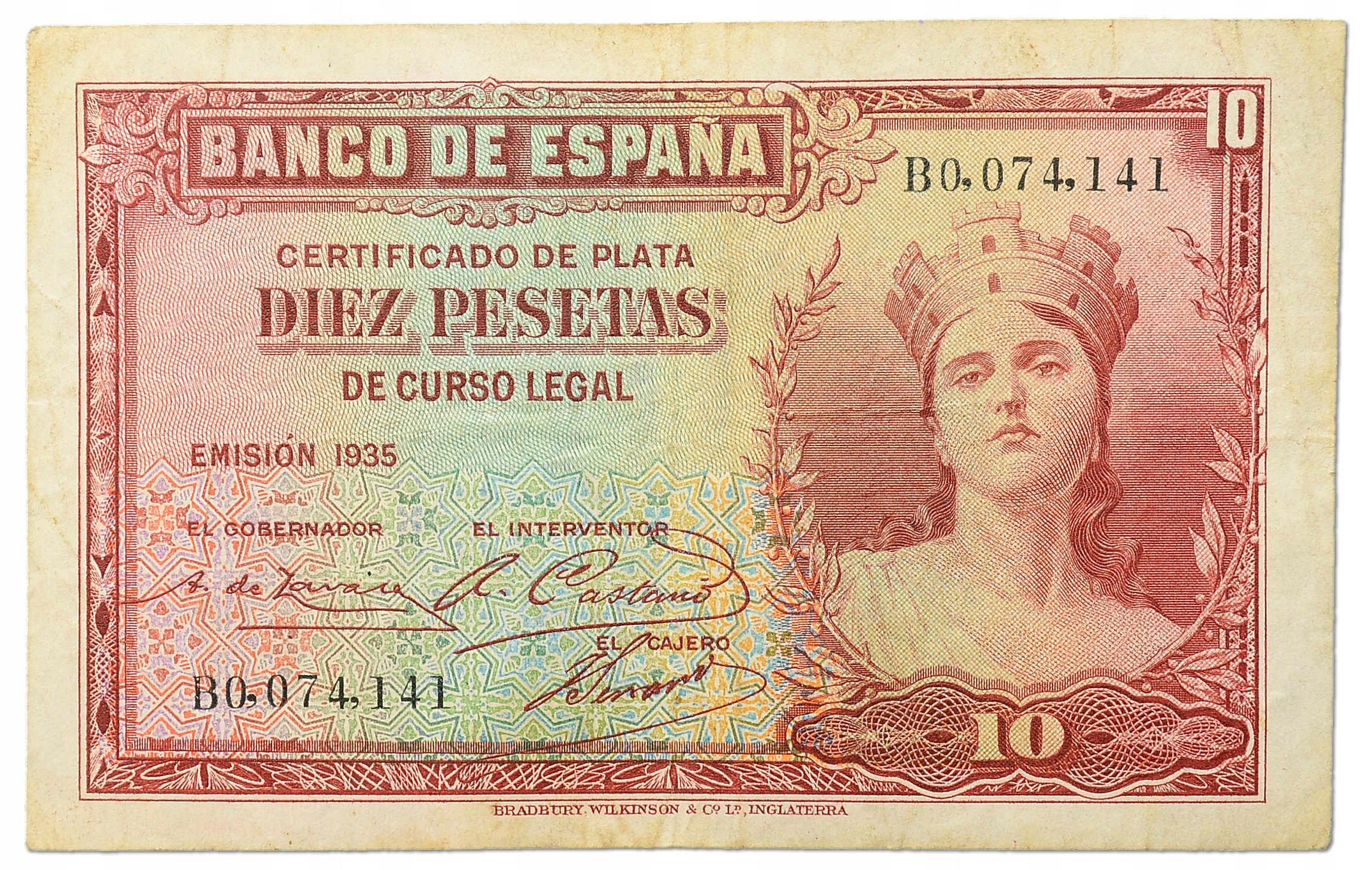 10.Hiszpania, 10 Peset 1935, P.86.a, St.3+