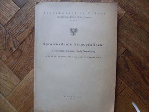 Sesja IX KRN,stenogram,1946, /do użytku własnego/.