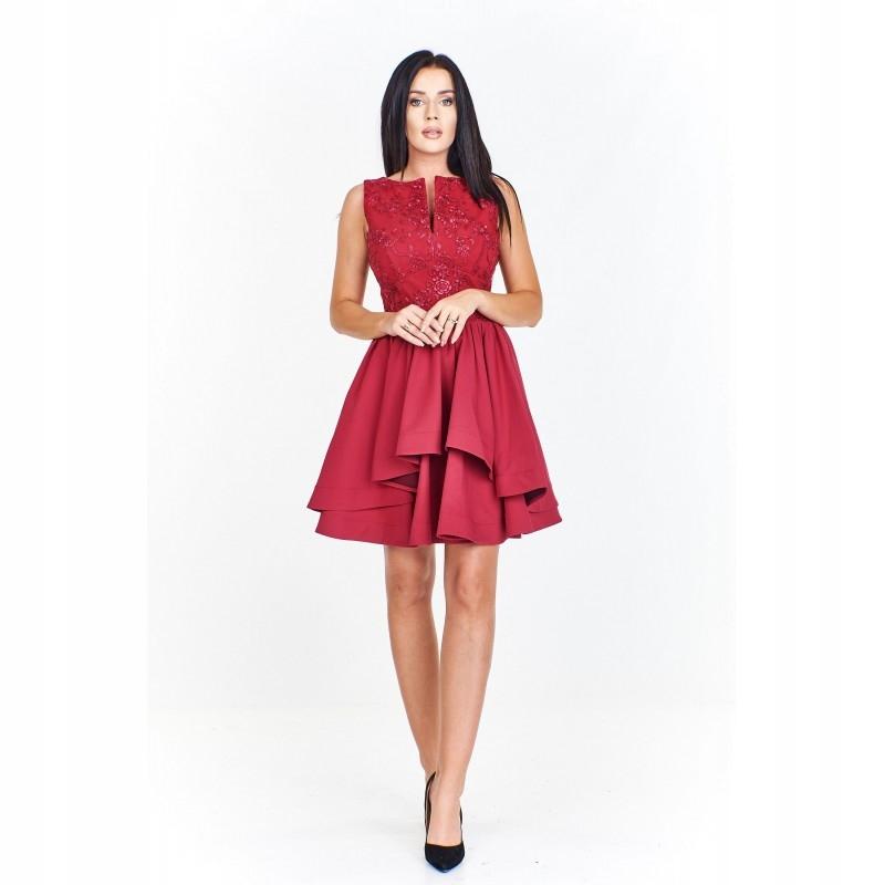 ee74981fa2d016 Wieczorowa sukienka z dopasowaną wyszywaną górą z - 7799602633 ...