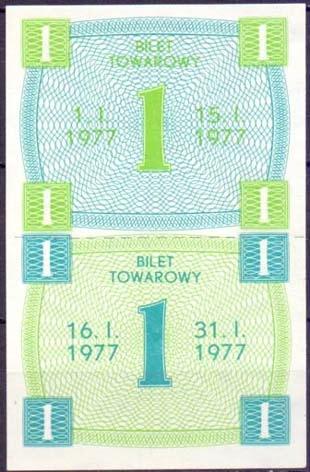 PRL.Bilet towarowy.Kartki na cukier 2 x 1- 01-1977