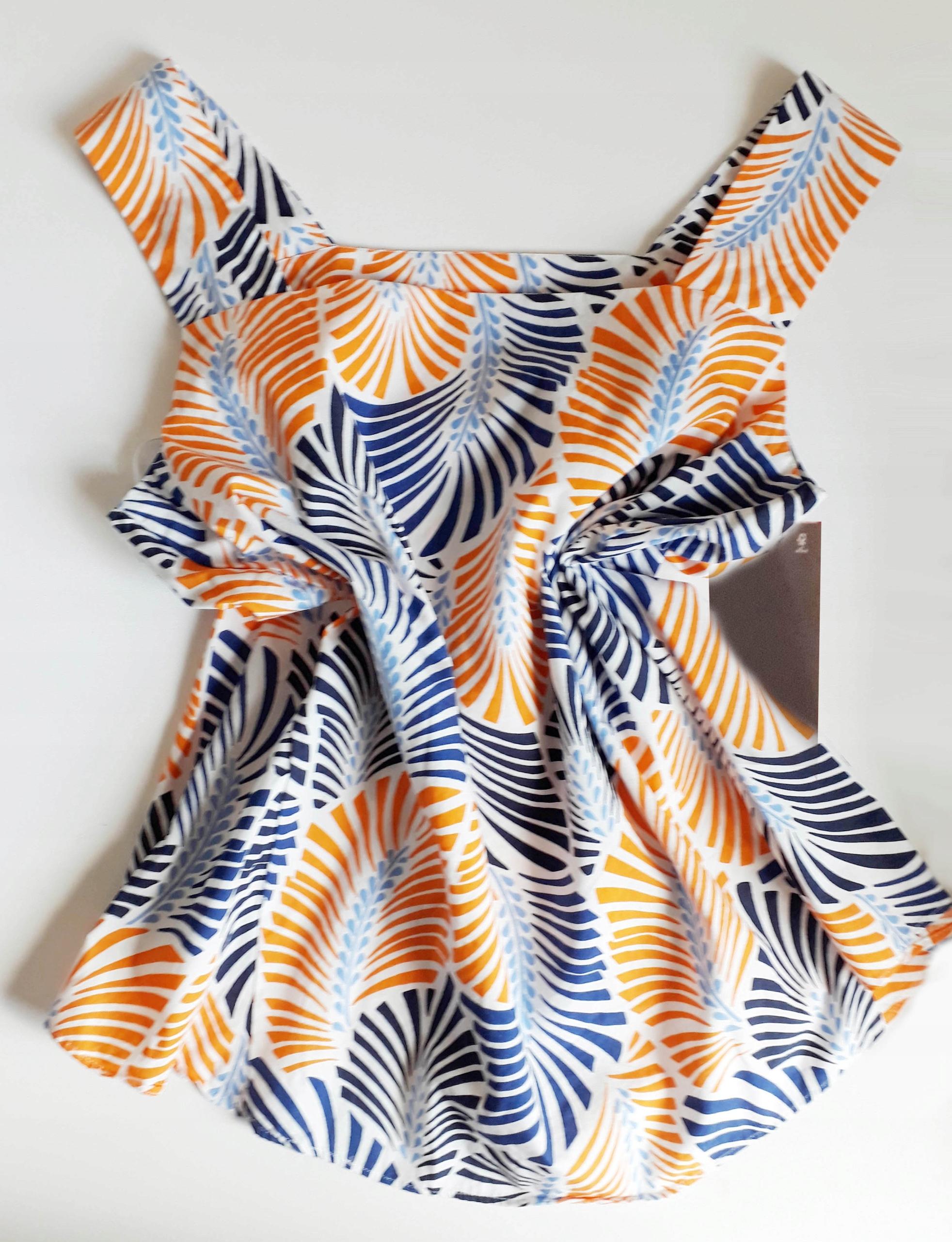 Zara M biała bluzka z popeliny wzorzysta kolorowa