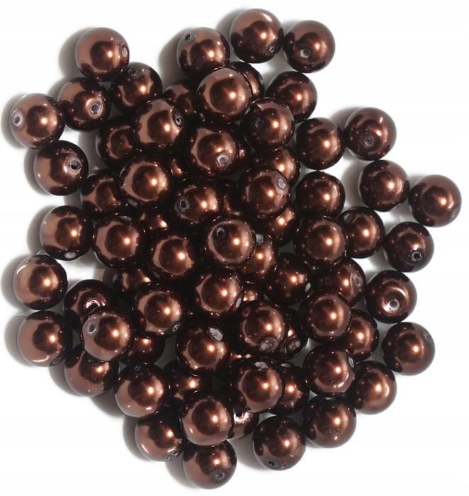 Perły szklane 12mm brąz perełki koraliki 300g