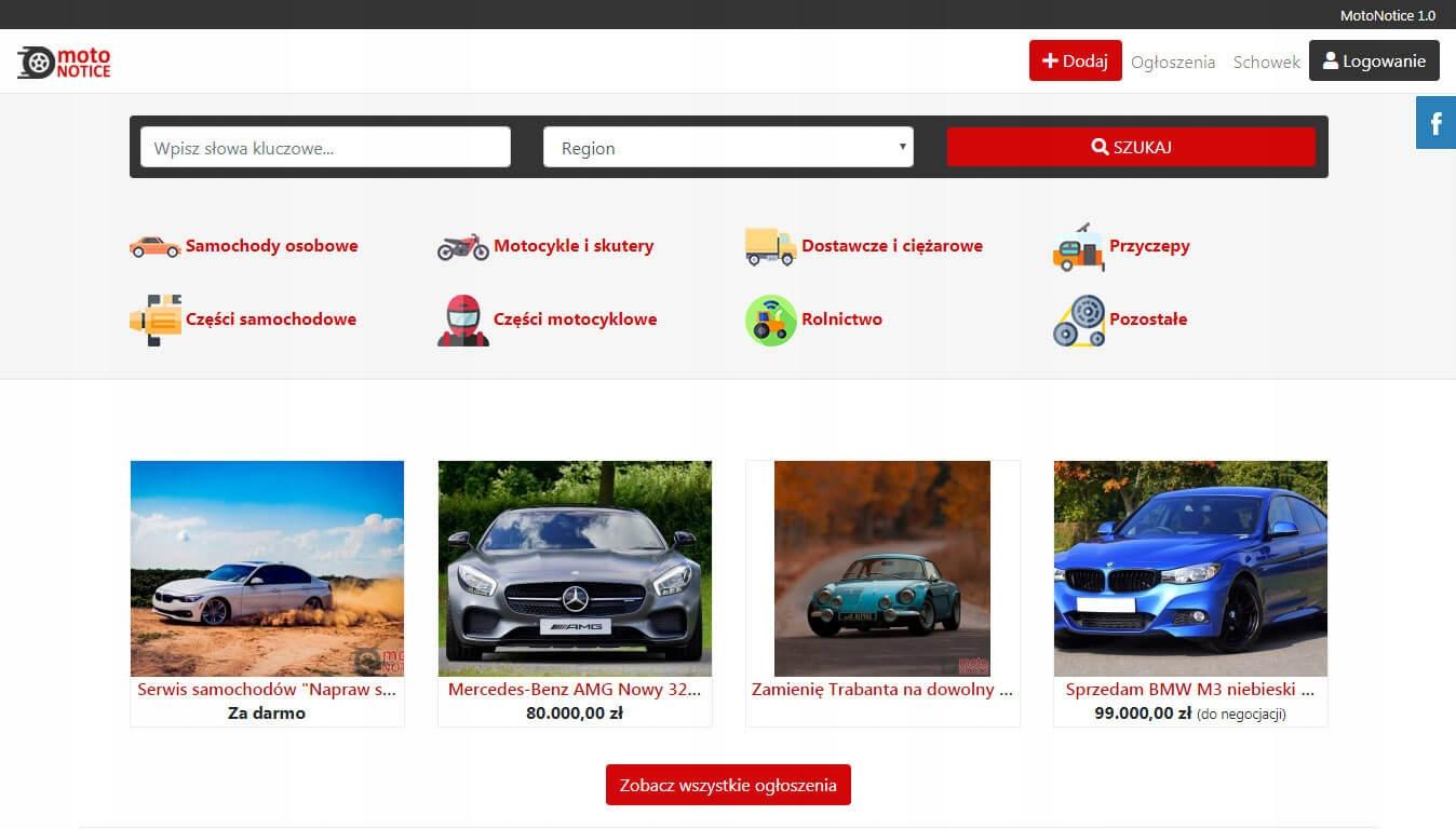 Skrypt strony ogłoszeń motoryzacyjnych MotoNotice