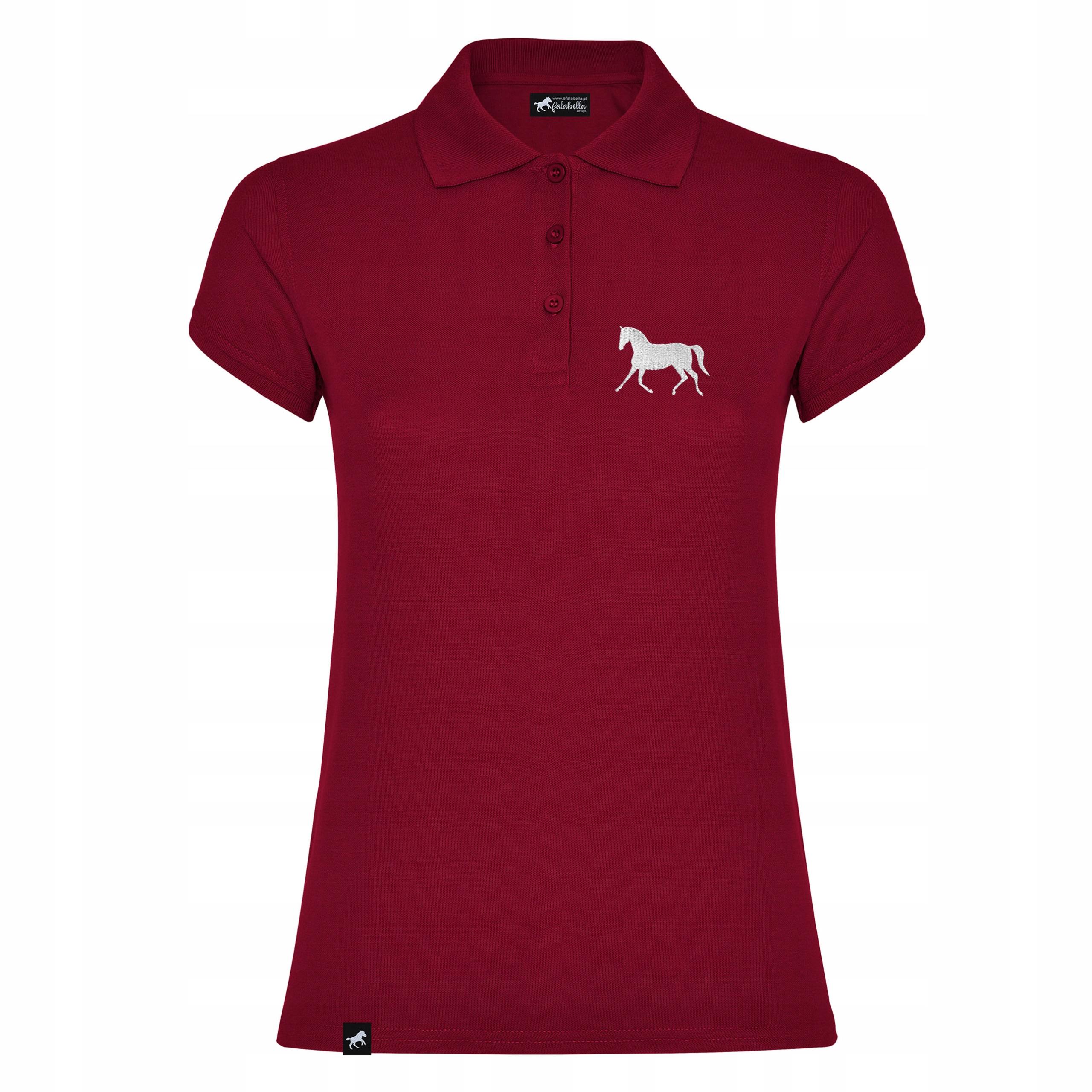 Koszulka polo z koniem z haftem - koń w kłusie