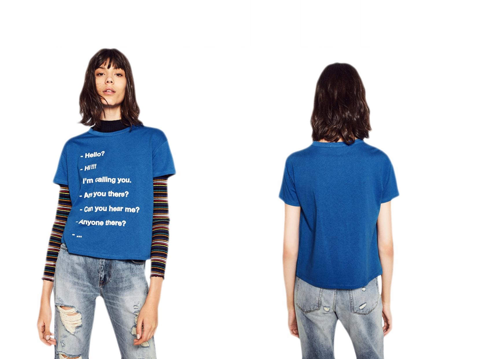 Niebieski t-shirt napisay aplikacja S/36