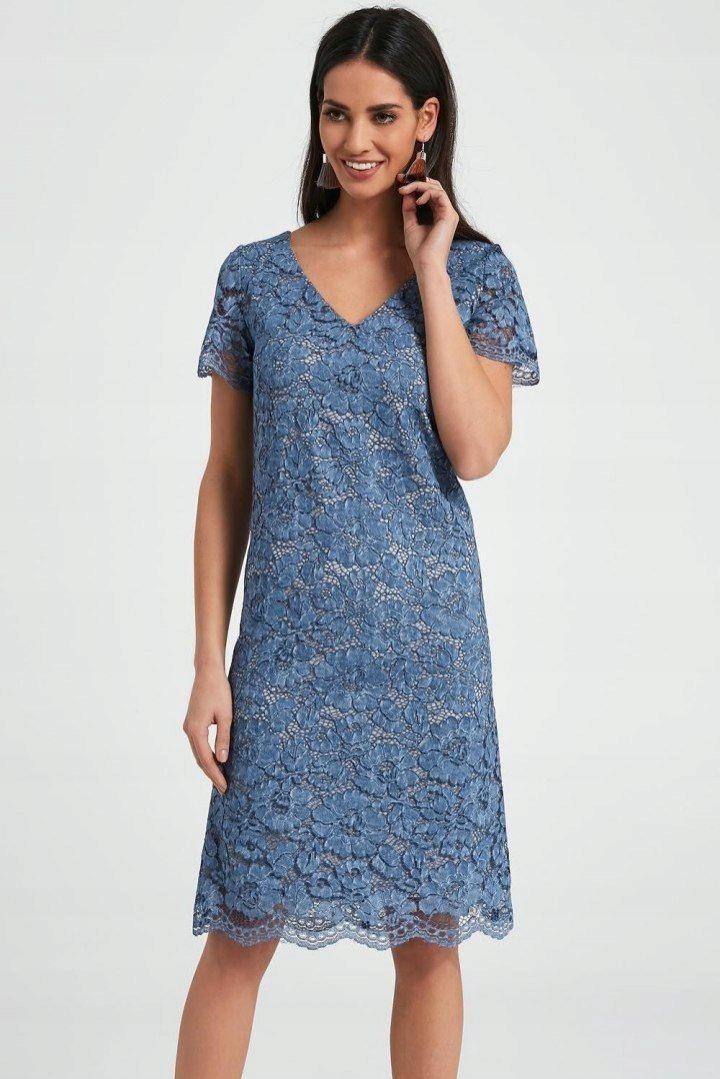 59dfcaf451 Sukienka Rachel do kolan niebieska koronkowa wisko - 7570103382 ...