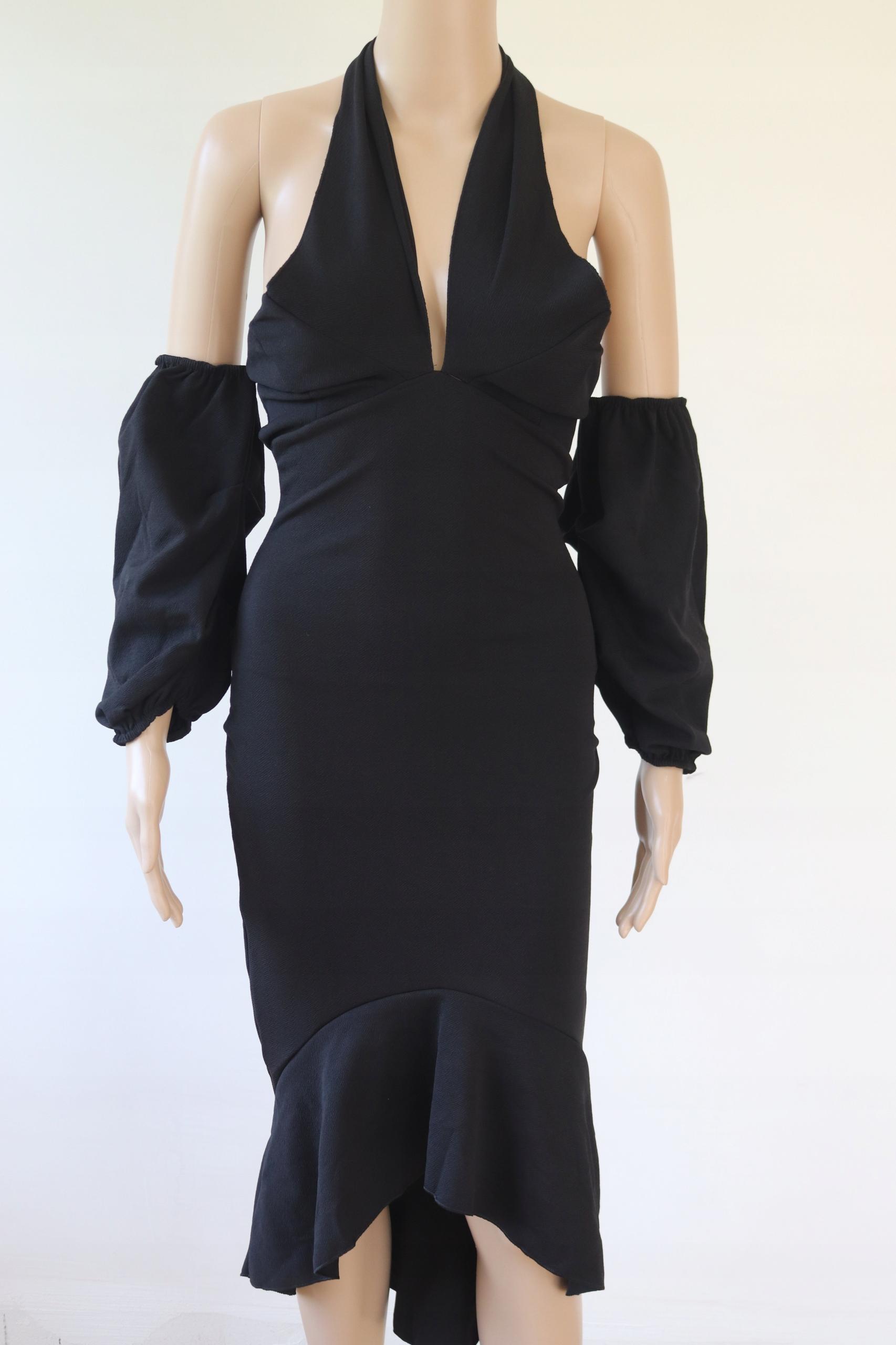 BOOHOO midi czarna sukienka imprezowa S