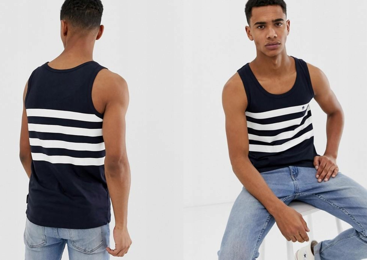 FRENCH CONNECTION TANK TOP W KONTRASTOWE PASY S