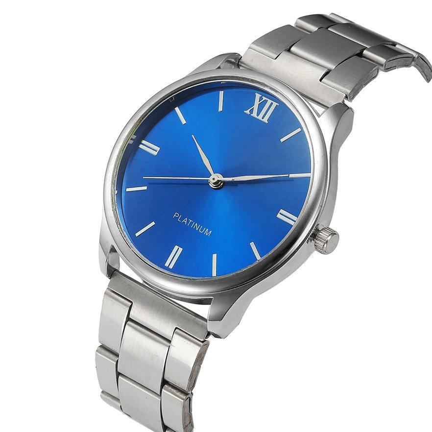 Zegarek Męski METALOWY Srebrny Niebeski ZG038