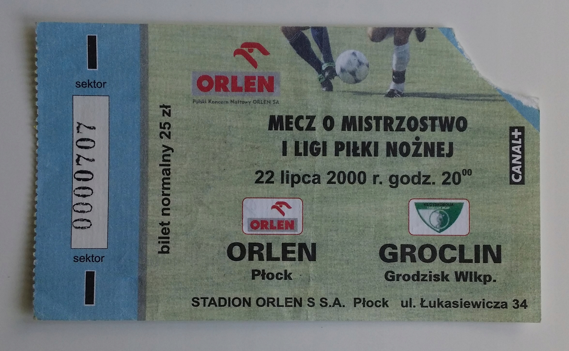 Bilet Orlen Płock - Groclin 22.07.2000