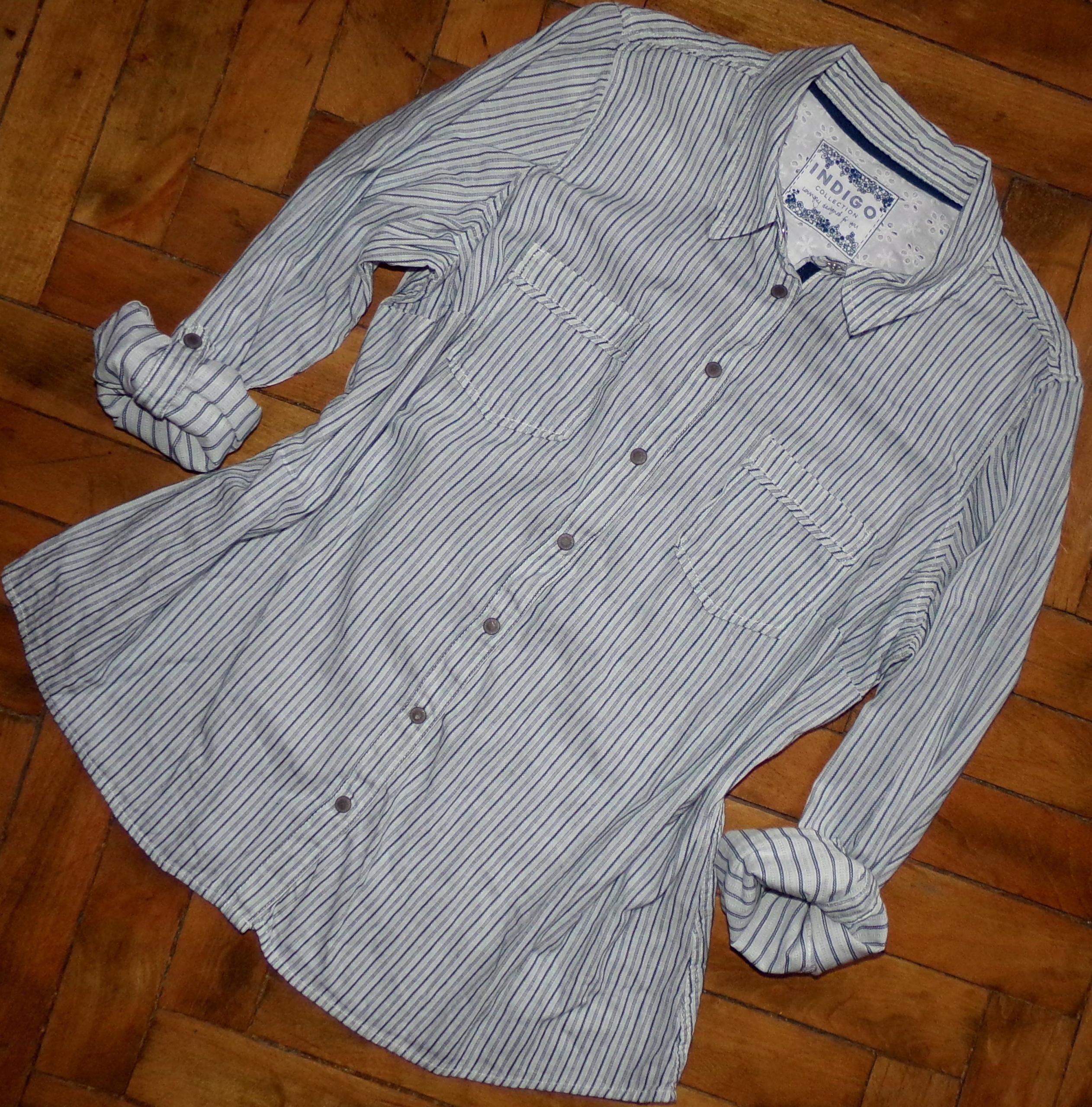 48-50 M&S koszula na zatrzaski prążek, roll up