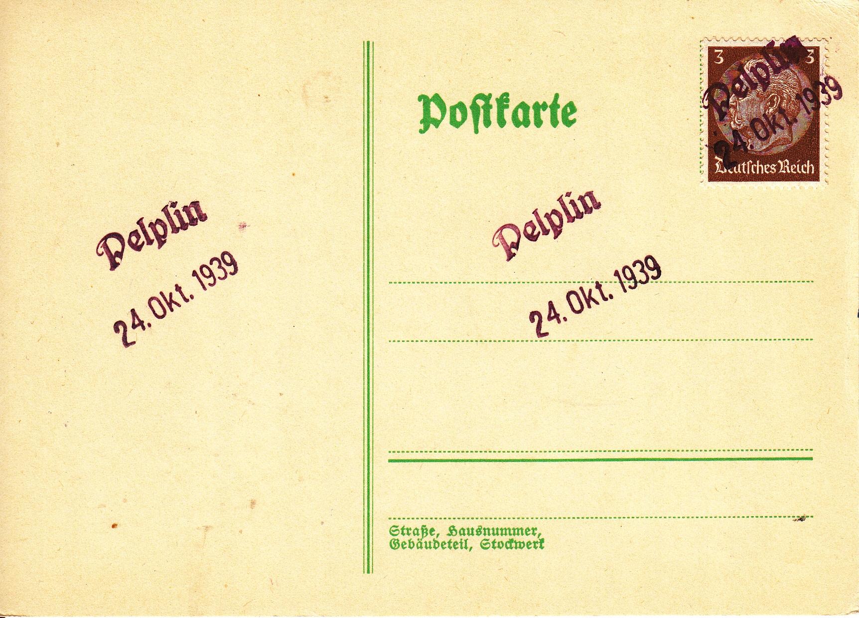 Pelplin -stempel prowizoryczny 1939r