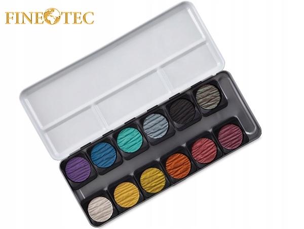 Farby akwarelowe perłowe Finetec 12 kolorów