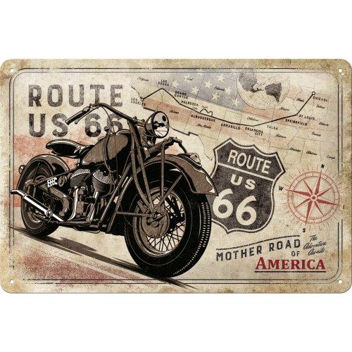 Metalowy Plakat Szyld Retro 20x30 Route 66 Biker