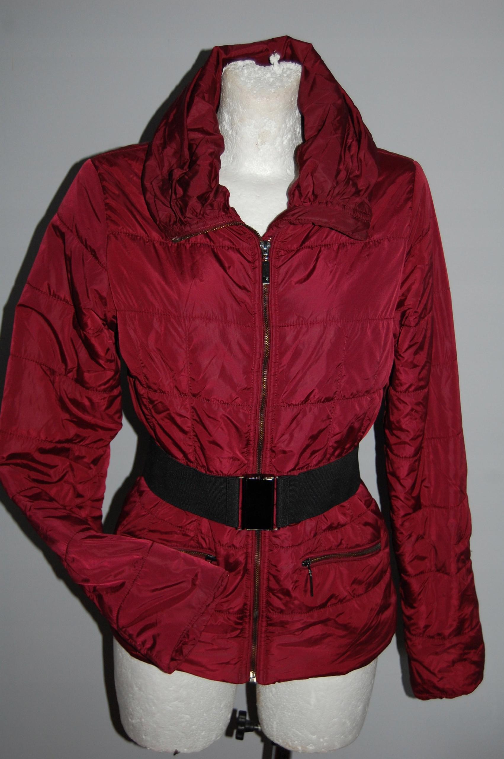 SALE! TOP SECRET bordowa pikowana kurtka 34 XS