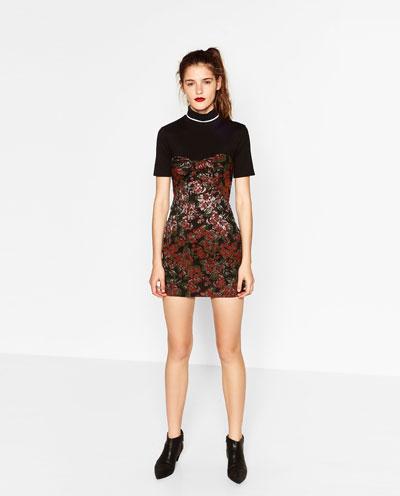 Kwiatowa żakardowa mini sukienka kokarda XS 34