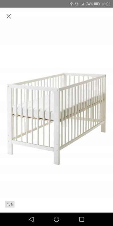 Łóżeczko drewniane Gulliver + materac IKEA