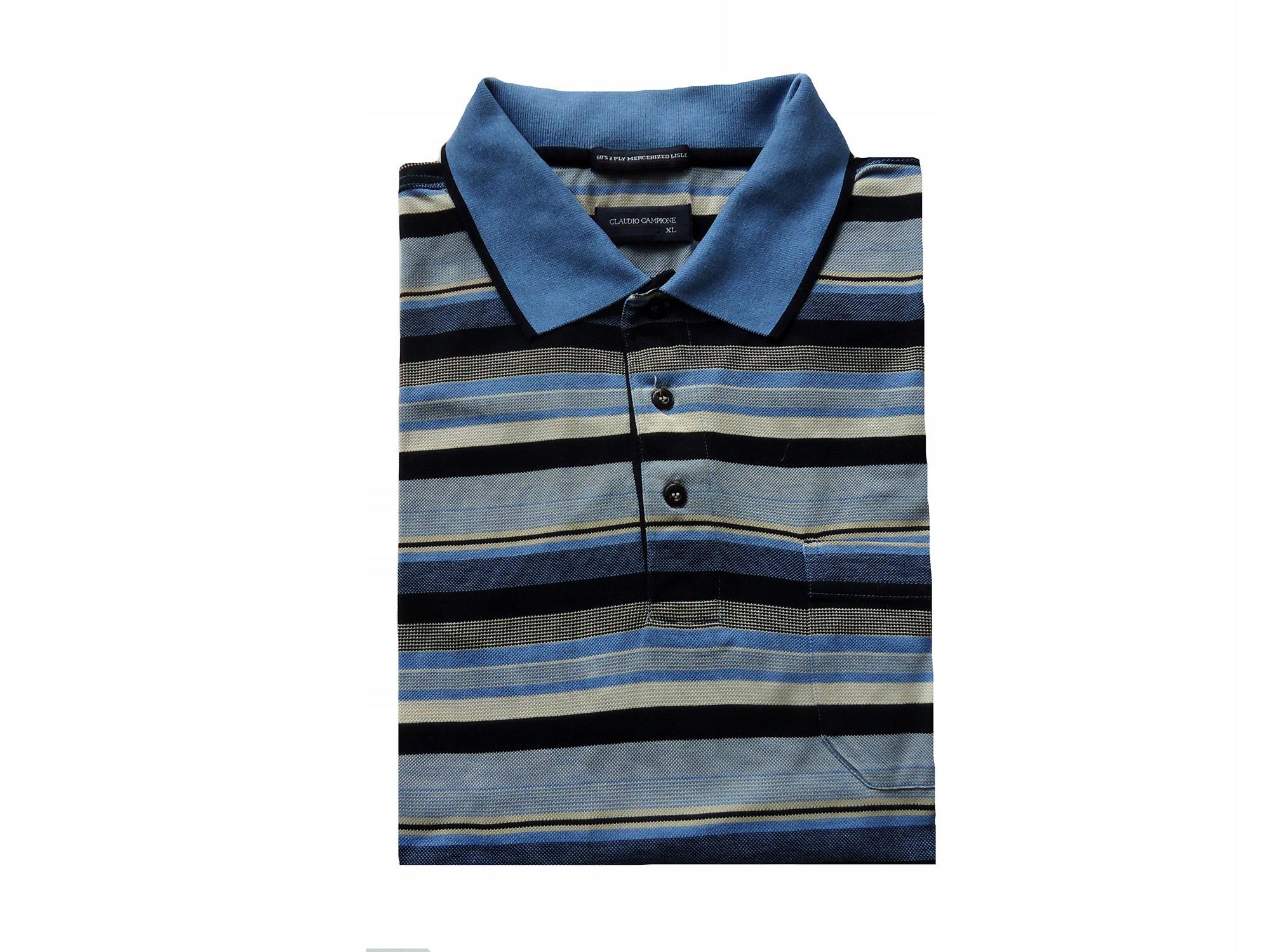 CLAUDIO CAMPIONE koszulka polo w paski XL