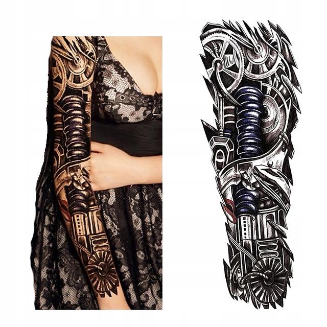 Tatuaż Rękaw 45cm 3d Sprężyna Arm Biomechanika Art