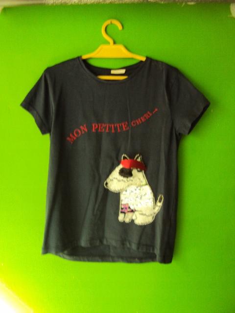 koszulka zara 128 cekiny pies