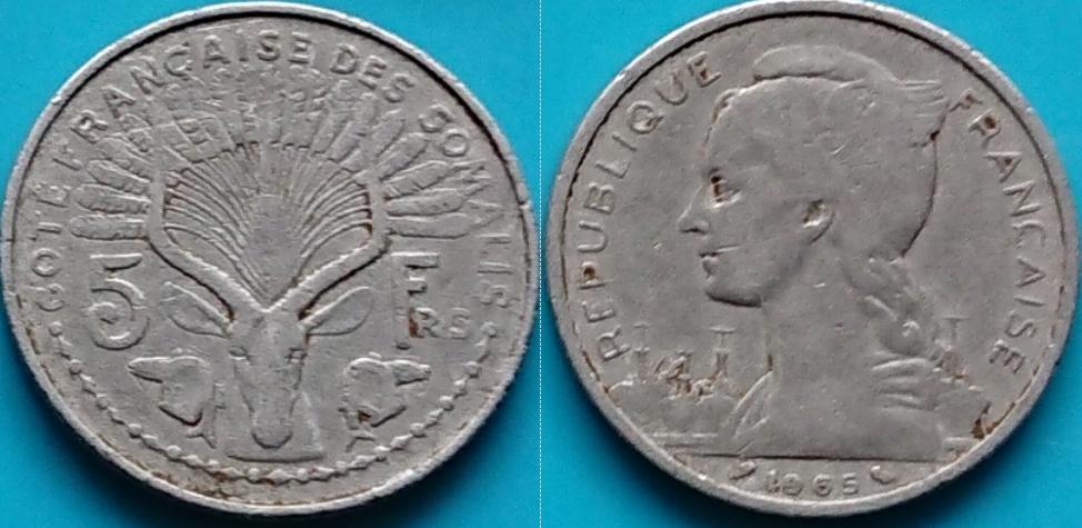 Somalia Francuska 5 franków 1965r. KM 10 duża