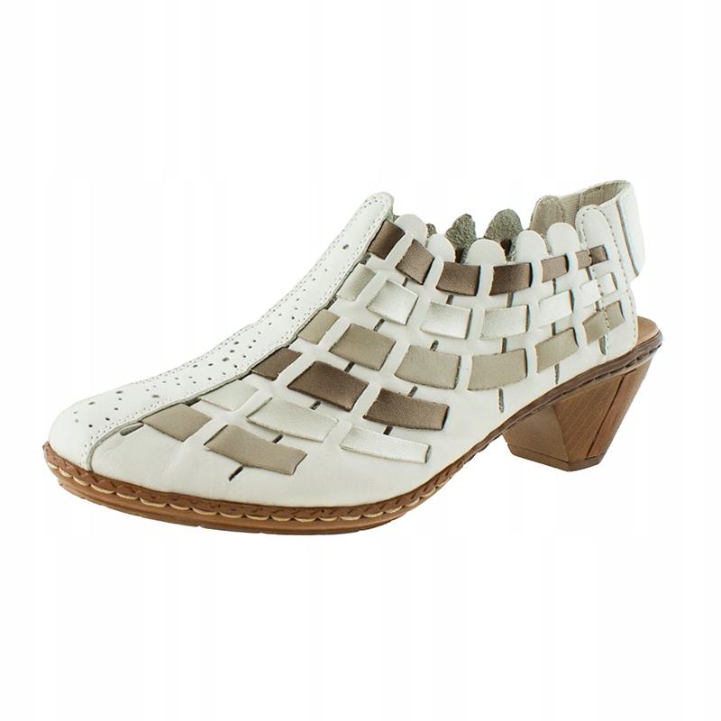 Sandały damskie skórzane na obcasie 39