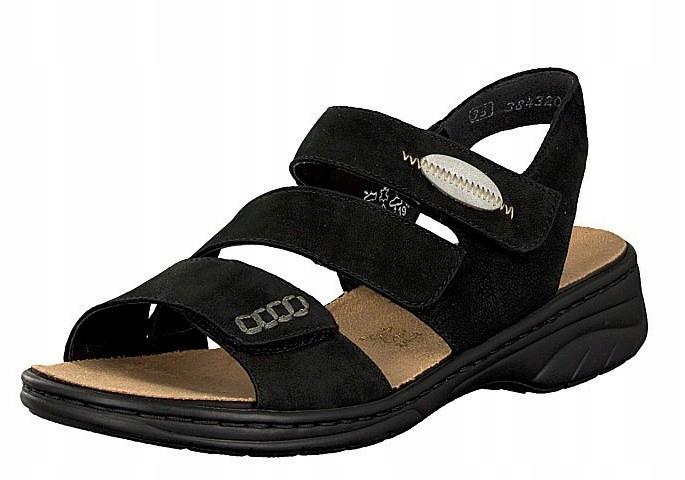 Rieker 64573-00 39 czarne sandały - grube spody