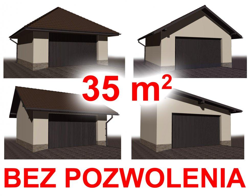 Oryginał Projekt garażu 35 m2 - BEZ POZWOLENIA ! - 7006425948 - oficjalne QW43