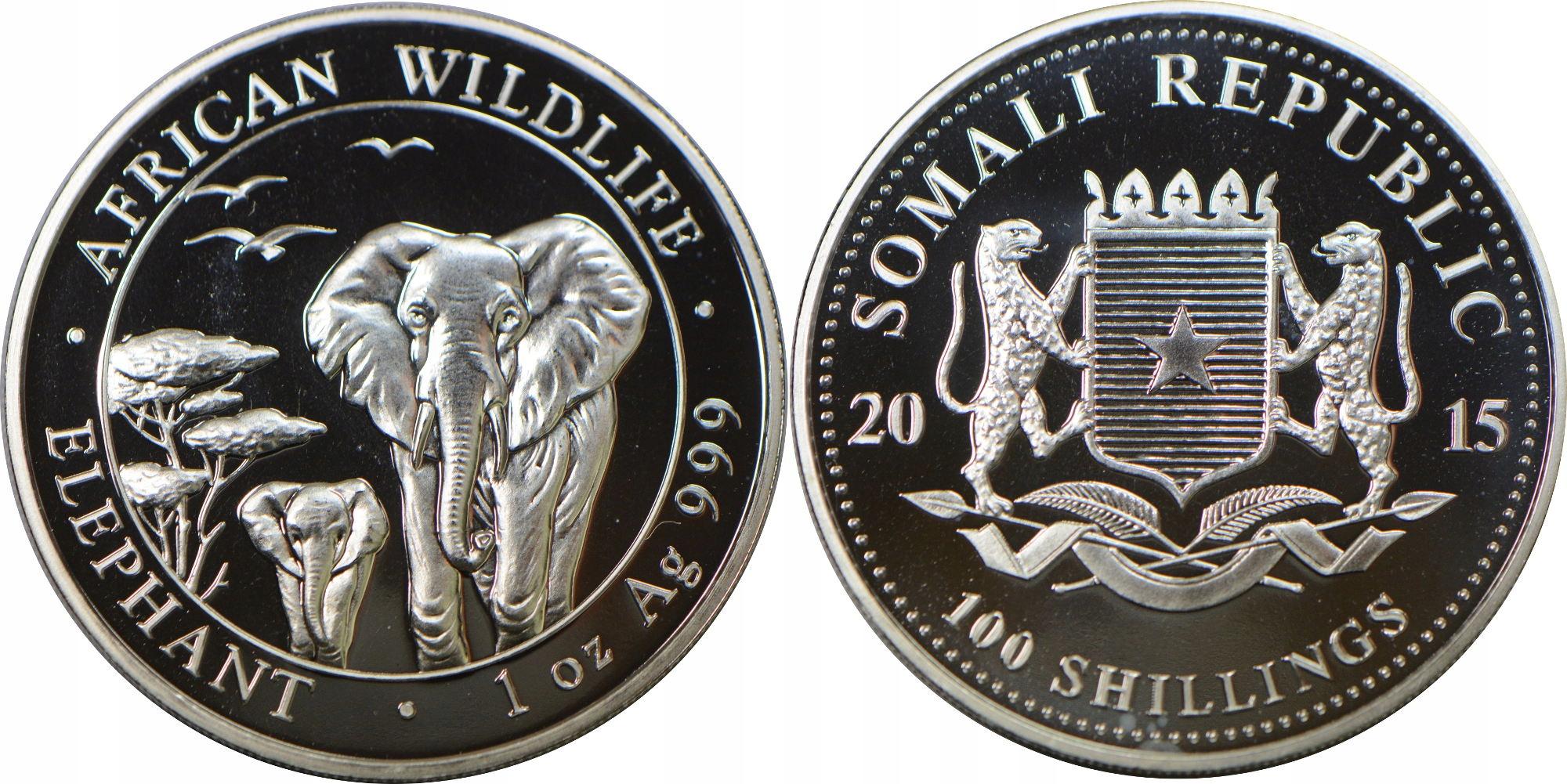 1LB. SOMALIA 100 SH 2015 SŁONIE SREBRO GCN 20.02