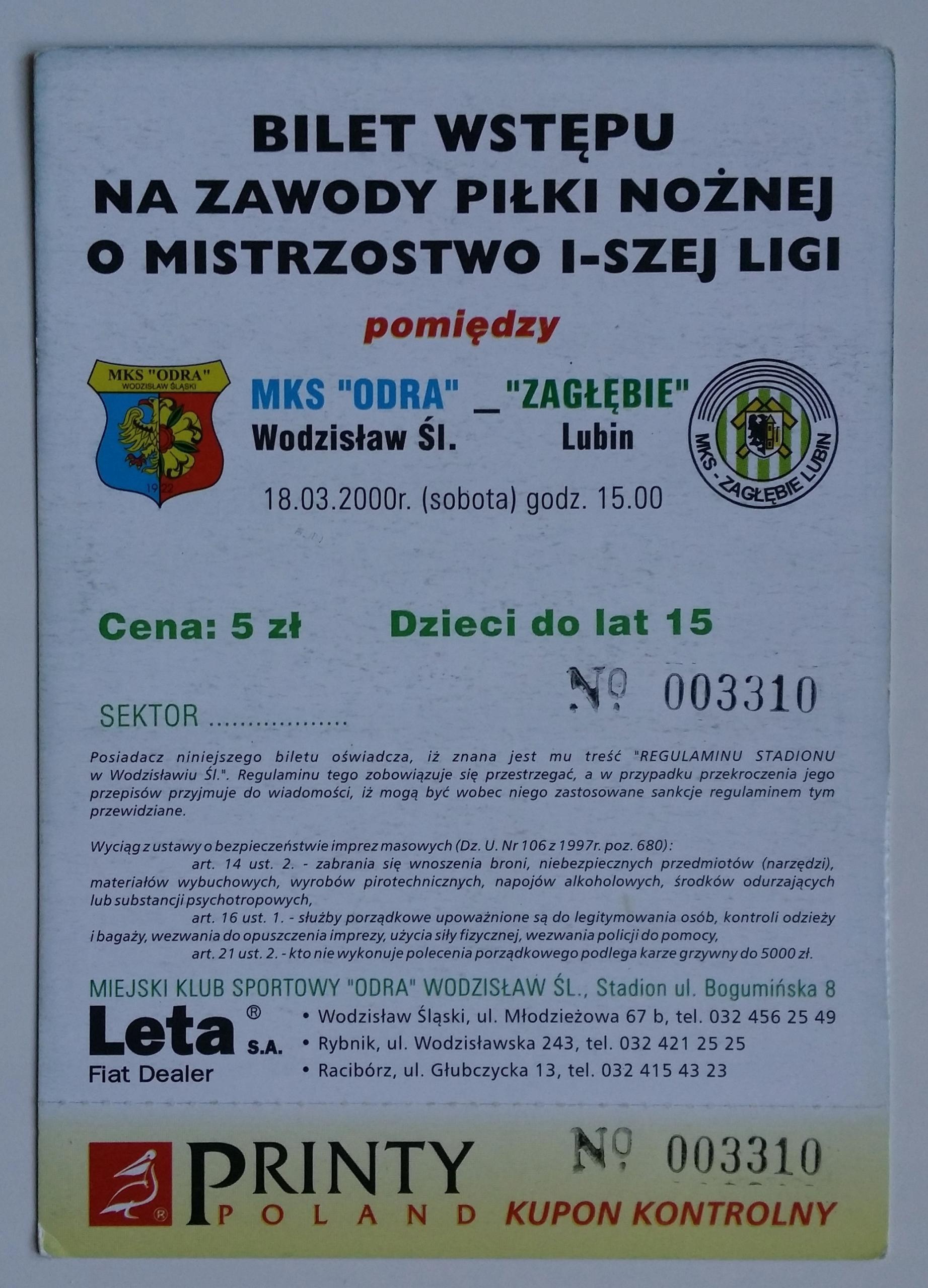 Bilet Odra Wodzisław - Zagłębie Lubin 18.03.2000
