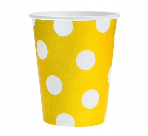 Kubeczki papierowe Żółte kropki groszki 6 szt