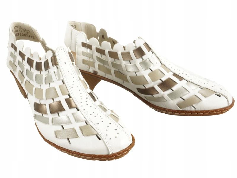 Sandały damskie RIEKER 46778-81 white comb r38