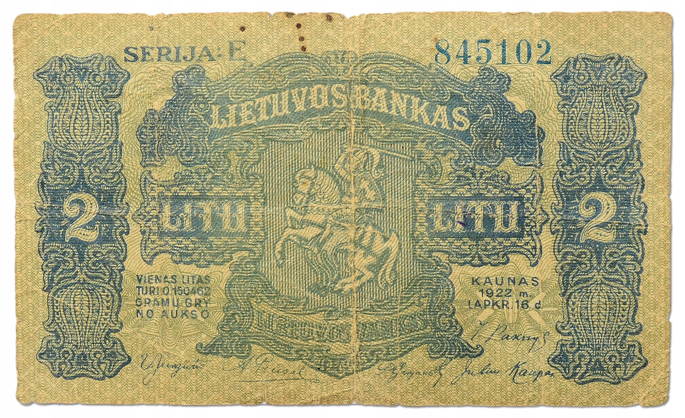 31.Litwa, 2 Lity 1922 b.rzadki, P.14.a, St.3-
