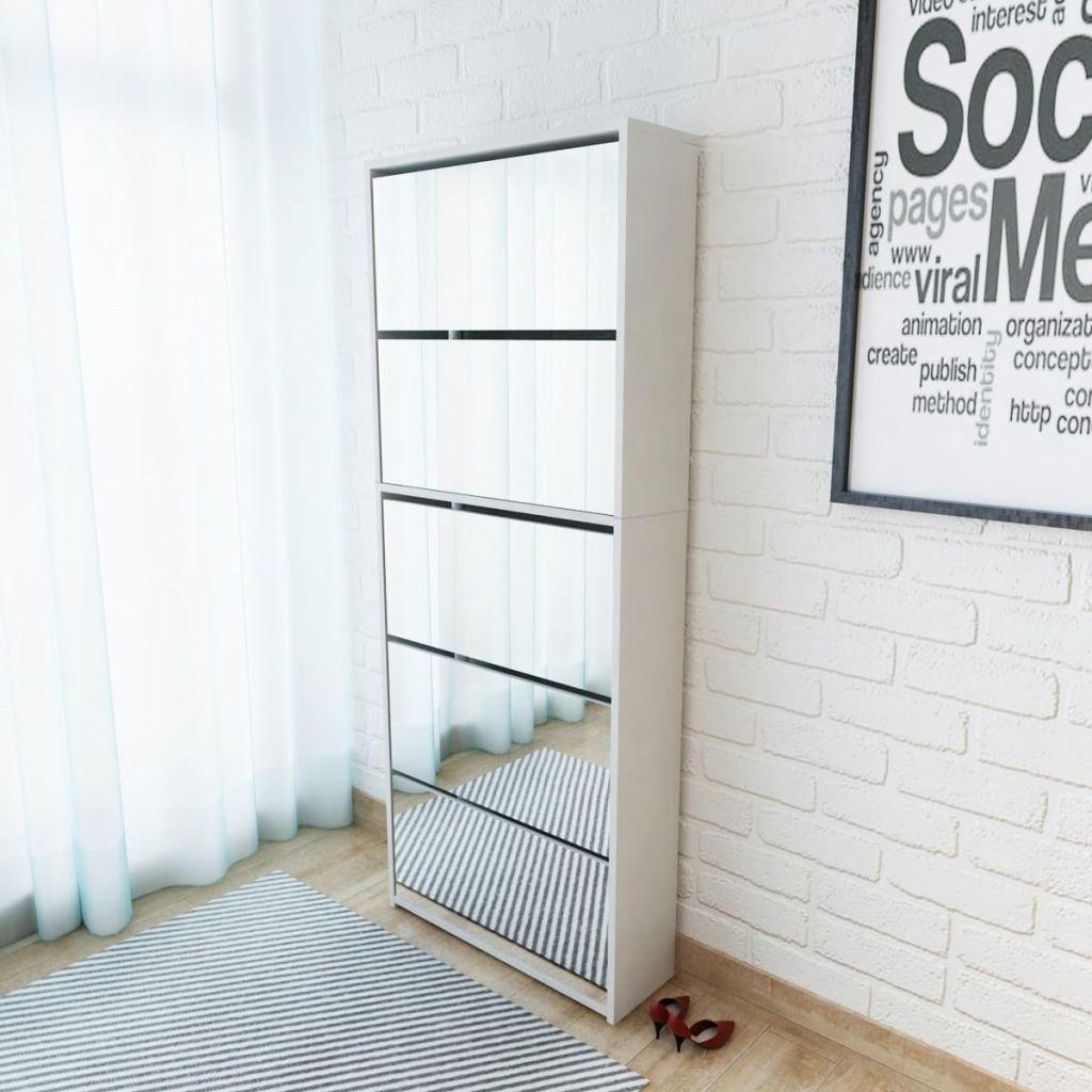 Szafka na buty z 5 półkami, lustrzana, biała, 63x1