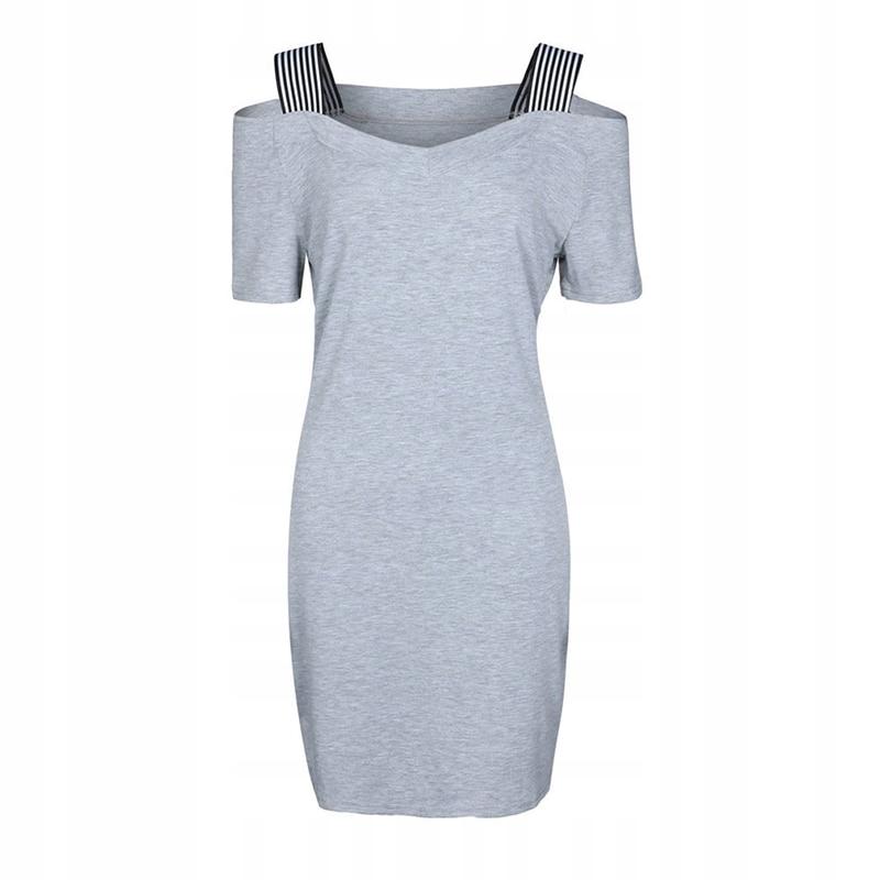 szara sukienka ramiączka glamour trapez M