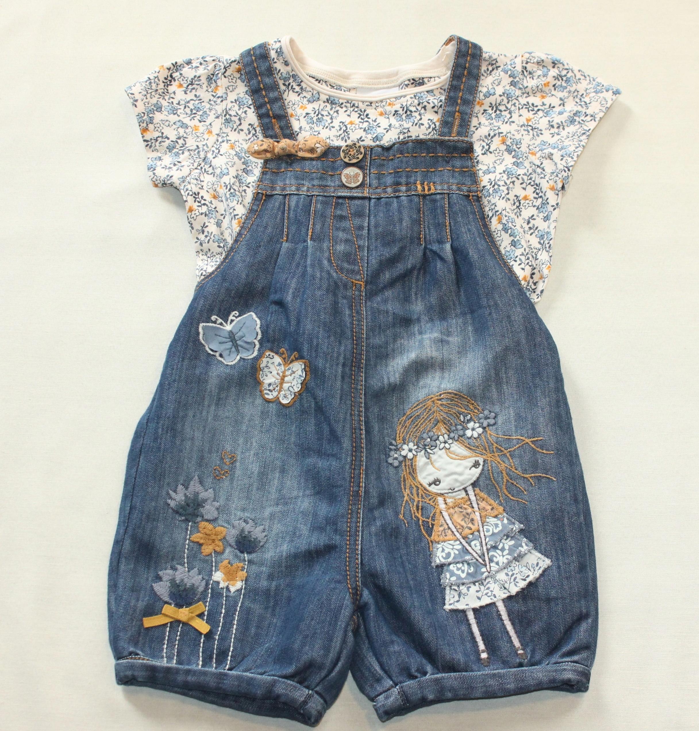 Komplet NEXT bluzka spodnium dziewczynka kwiat 98