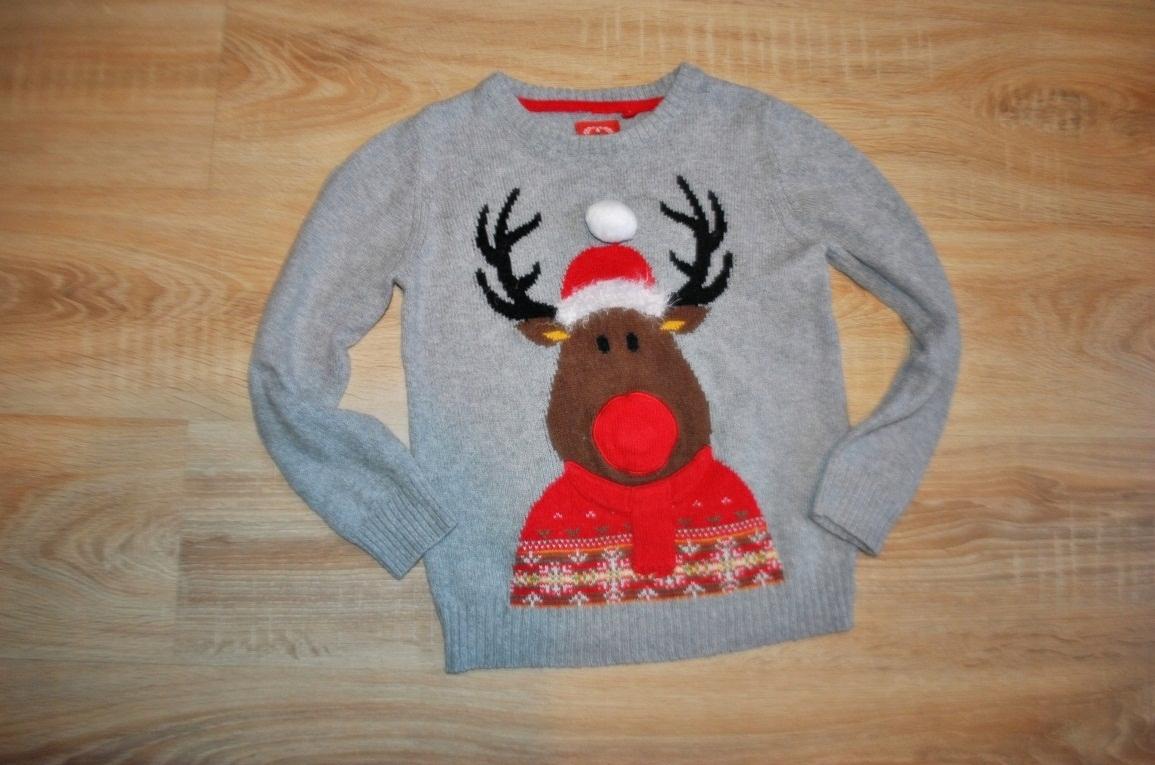 TU świąteczny sweterek RENIFEREK 128