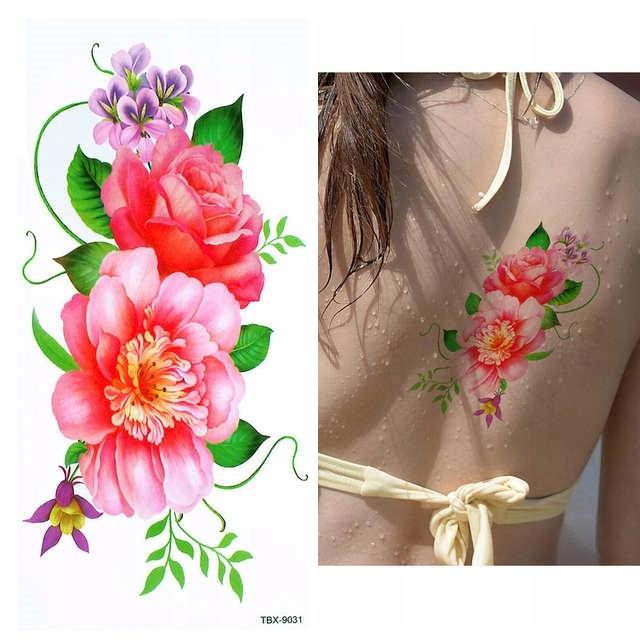 MOCNY Tatuaż tymczasowy TBX-9031 kolorowy KWIATY