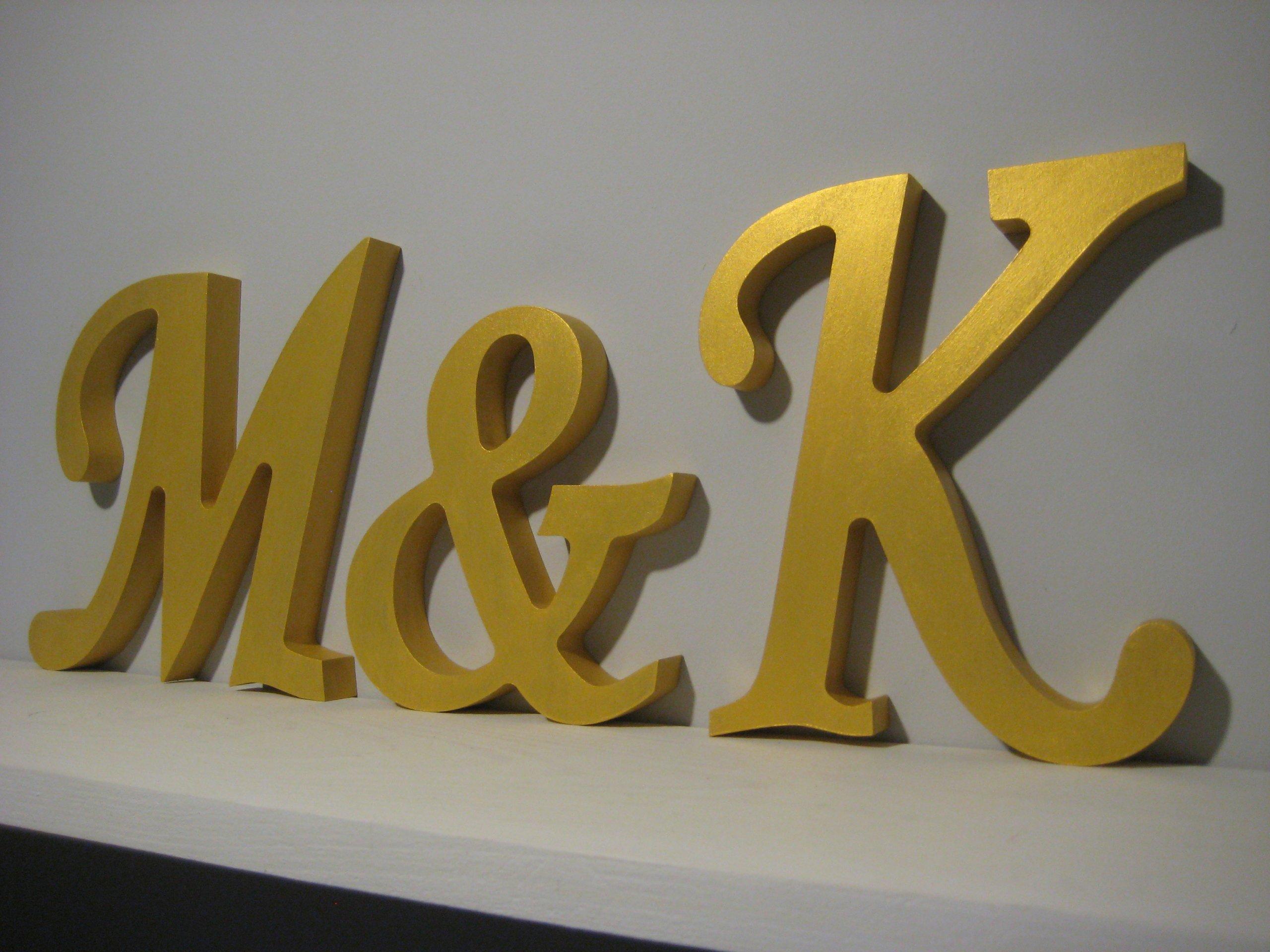 DREWNIANE ZŁOTE litery 3D na ślub 20 cm