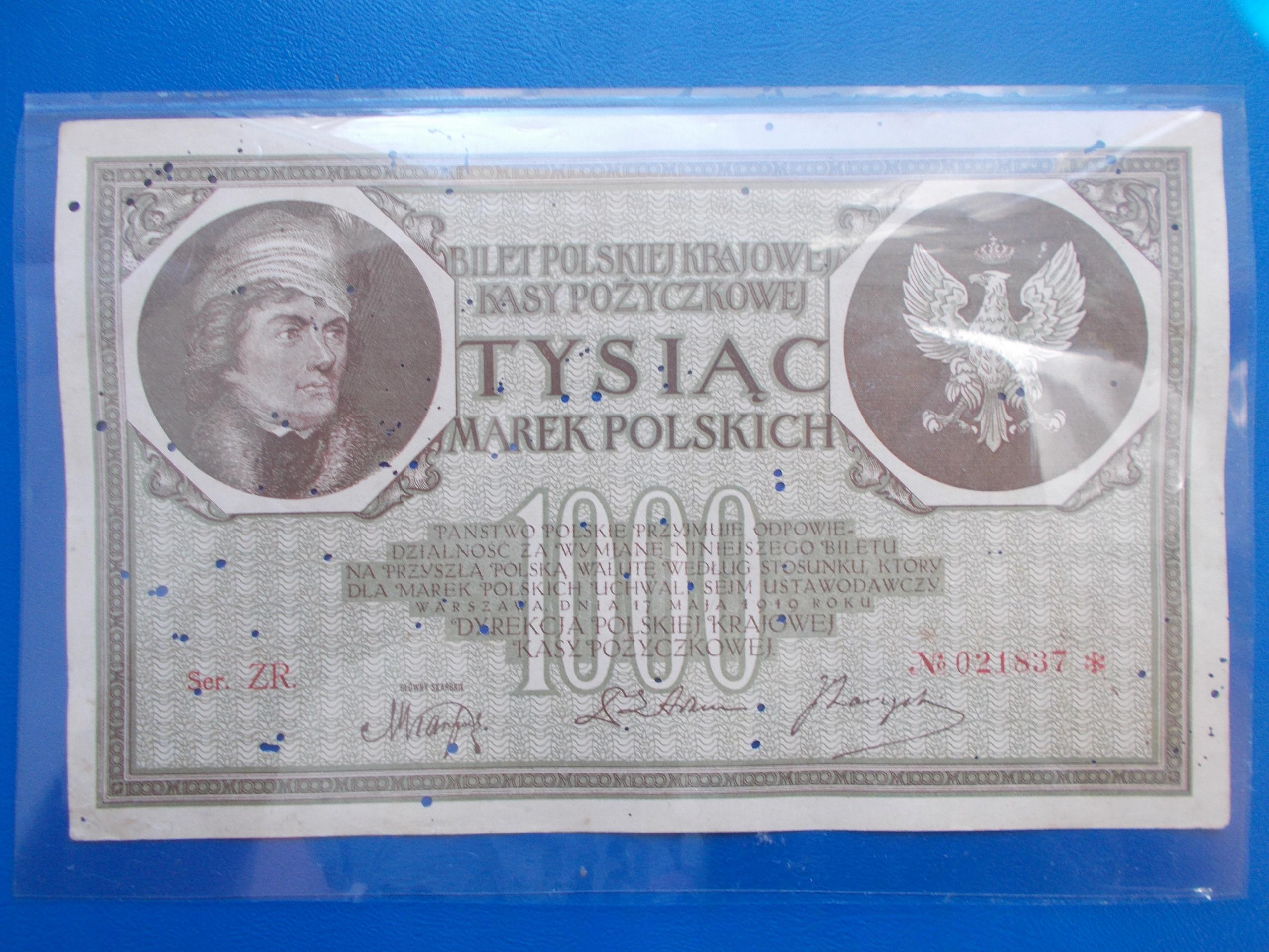 1 000 MAREK POLSKICH-1919-Mił.22-Ser.ZR