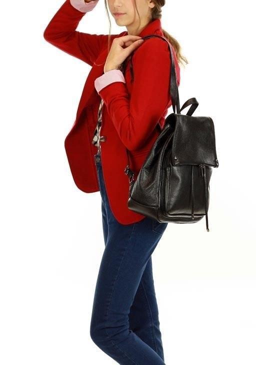 70f3257b68431 Skórzany czarny plecak damski AMBER - 7246854074 - oficjalne ...