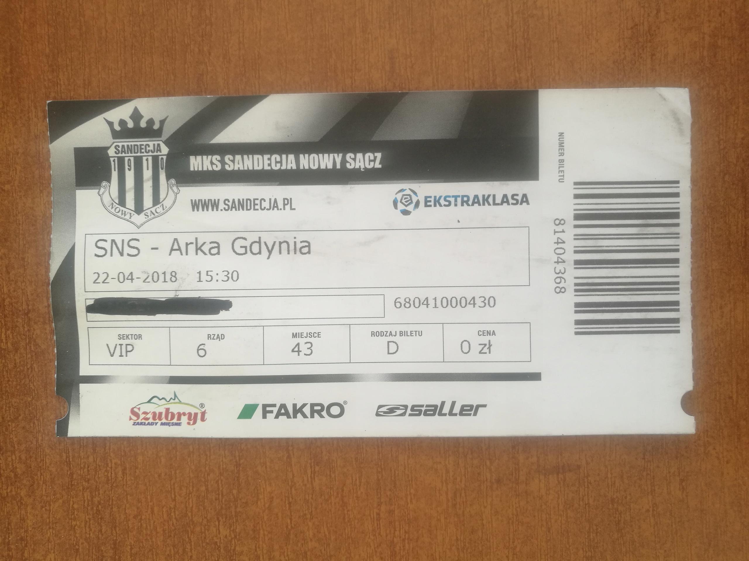 Bilet Sandecja vs Arka 22.04.2018