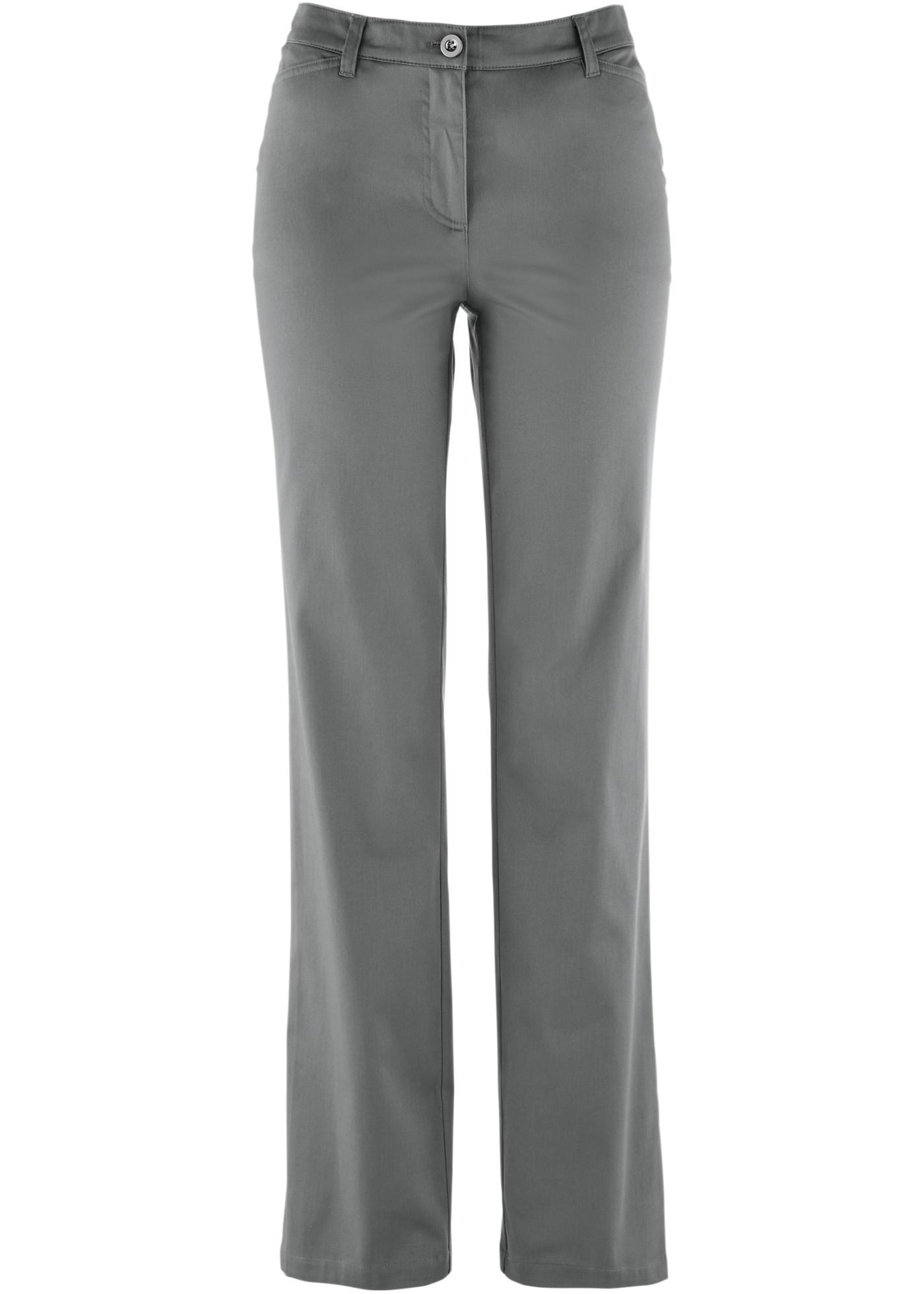 wygodne spodnie damskie bawełniane dymny szary 54