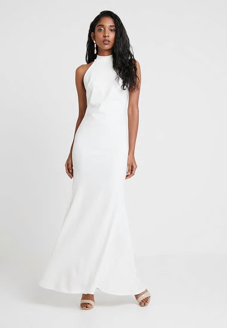 CLUB L ONDON biała sukienka śub maxi 36 S