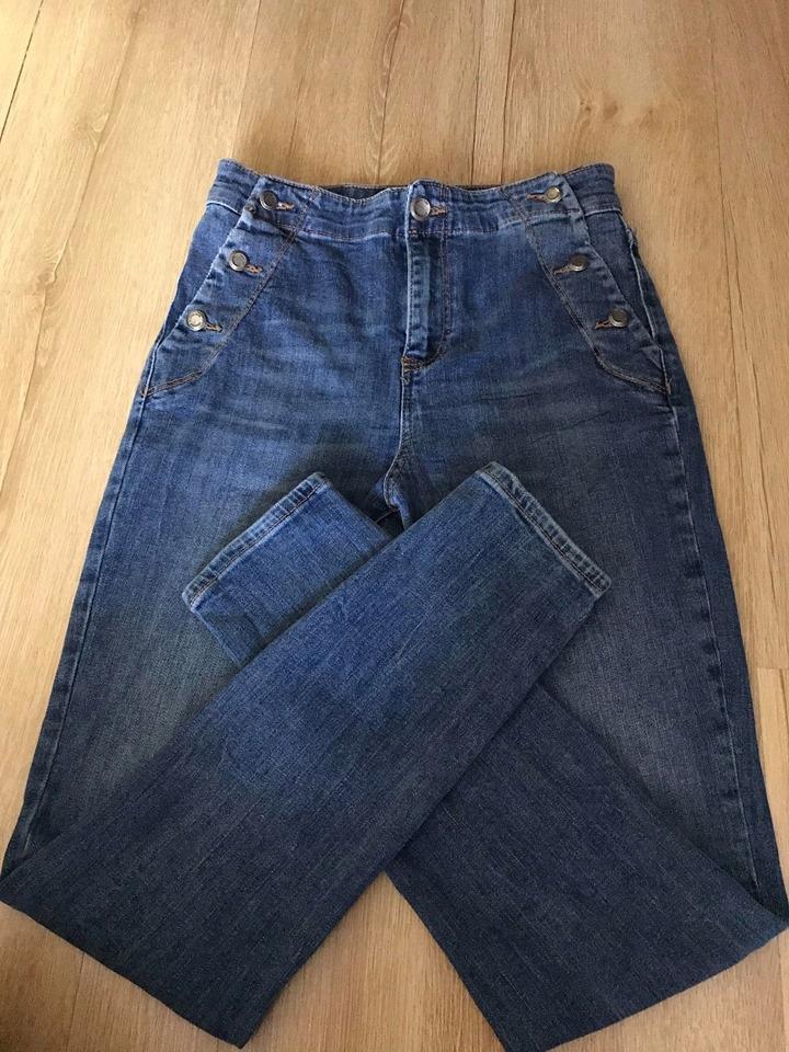 ZARA XS 34 spodnie jeansowe rurki wysoki stan nowe