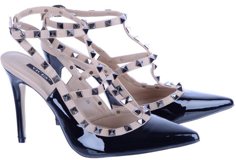 Szpilki Sandały Damskie z Ćwiekami 1166 Czarne 40