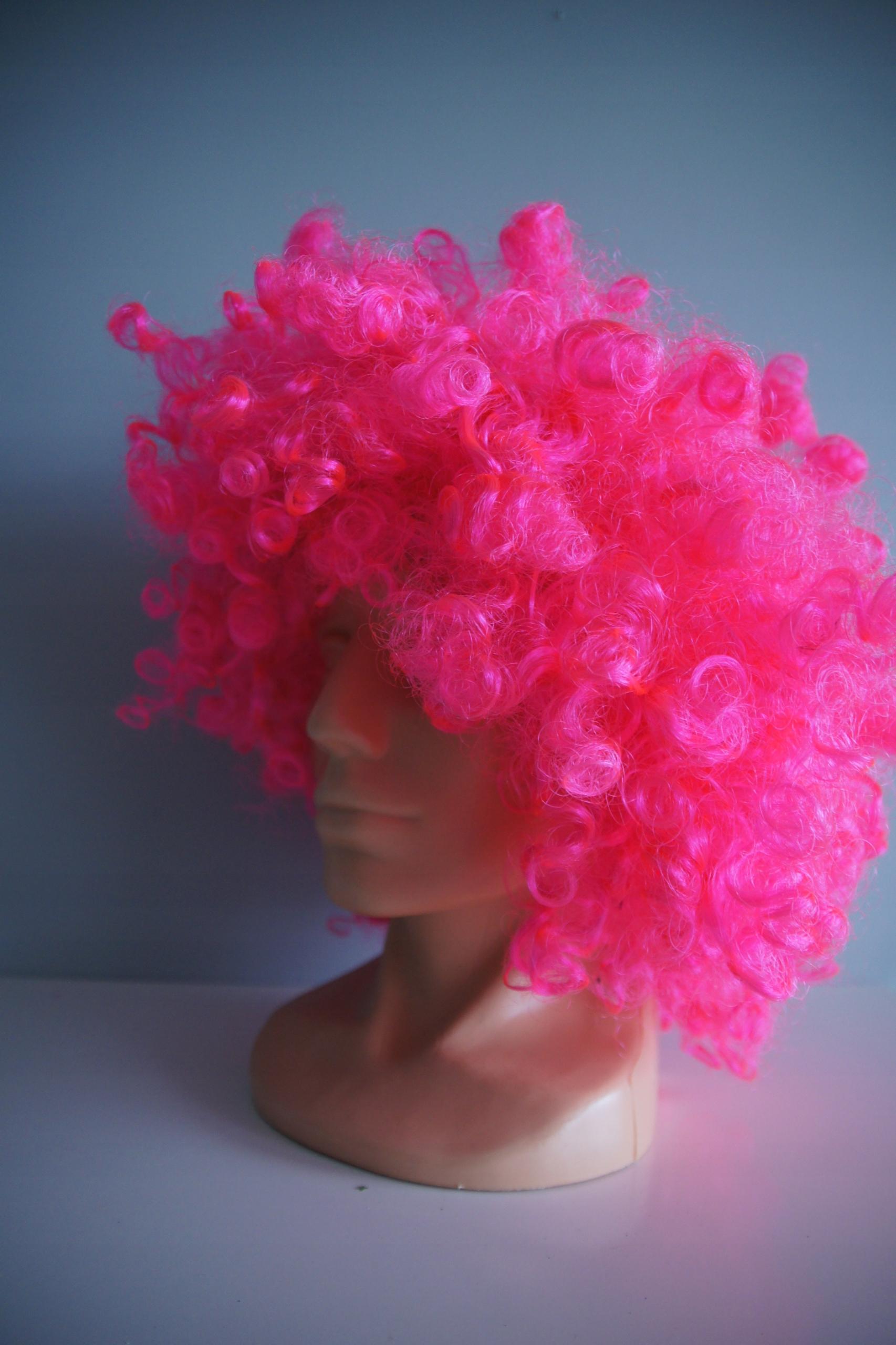 różowa neonowa peruka AFRO CLOWN KLAUN