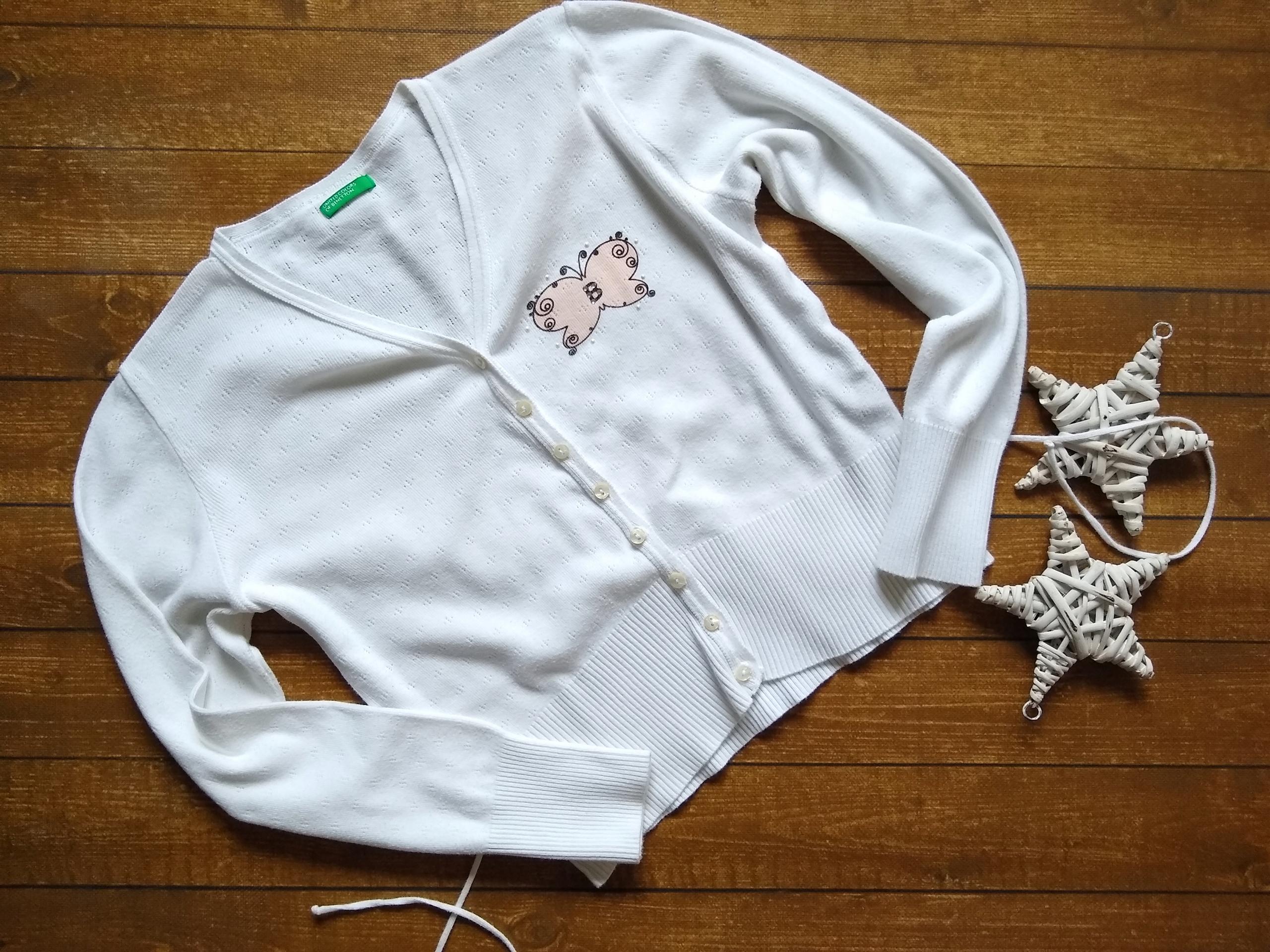 Benetton sweterek dziurkowany cienki śliczny 140